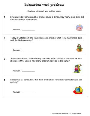 Preview image for worksheet with title Subtraction Word Problems