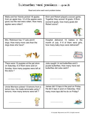 Preview image for worksheet with title Subtraction Word Problems - up to 18