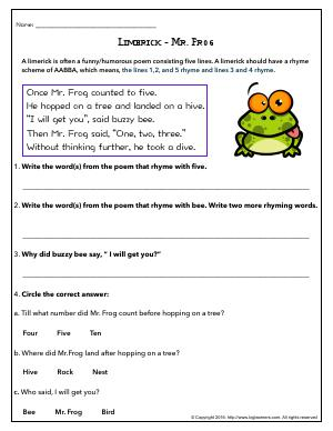 Rl First Grade English Worksheets Biglearners