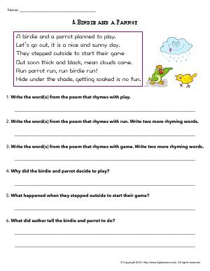 Preview image for worksheet with title A Birdie and a Parrot