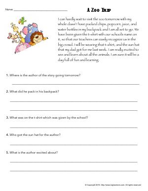 Preview image for worksheet with title A Zoo Trip