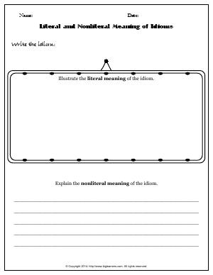 Preview image for worksheet with title Literal and Nonliteral Meaning of Idioms