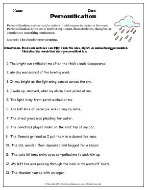 Fragments And Run-on Sentences Worksheets Pdf Grade   Free Common Core English Worksheets  Biglearners Free Reading Worksheets For 4th Grade with Grade 2 Mathematics Worksheets Pdf Preview Image For Worksheet With Title Personification Worksheet Websites For Teachers