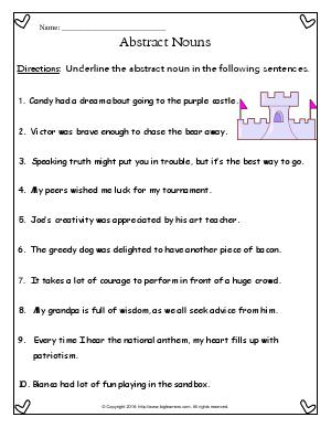 Preview image for worksheet with title Abstract Nouns