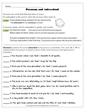 Preview image for worksheet with title Pronoun and Antecedent # 3
