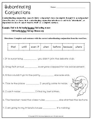 Preview image for worksheet with title Subordinating Conjunctions