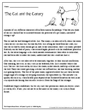 Preview image for worksheet with title The Cat and the Canary