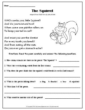Preview image for worksheet with title The Squirrel