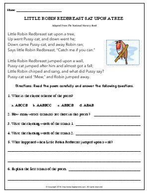 Preview image for worksheet with title Little Robin Redbreast Sat Upon a Tree