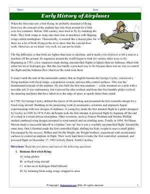 Preview image for worksheet with title Early History of Airplanes