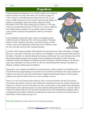 Preview image for worksheet with title Napoleon