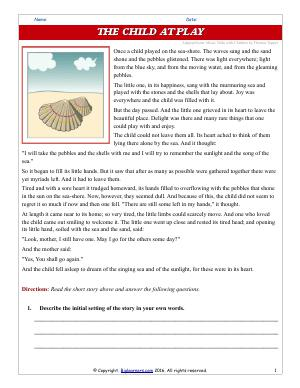 Preview image for worksheet with title The Child at Play