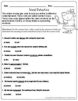 vocabulary and concept development third grade english worksheets biglearners. Black Bedroom Furniture Sets. Home Design Ideas