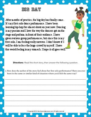 Preview image for worksheet with title Big Day