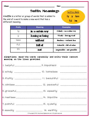 Preview image for worksheet with title Suffix Meanings