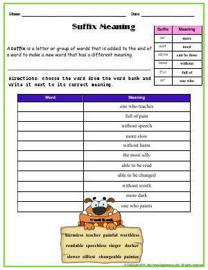 Preview image for worksheet with title Suffix Meaning