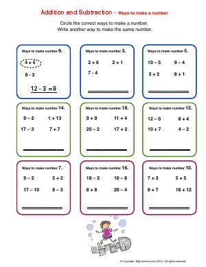 Preview image for worksheet with title Addition and Subtraction - ways to make a number
