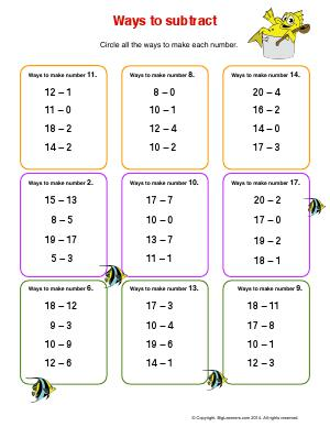 Preview image for worksheet with title Ways to Subtract
