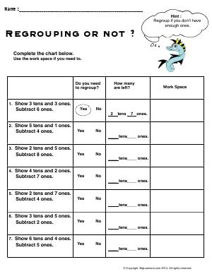 Preview image for worksheet with title Regrouping or Not ?