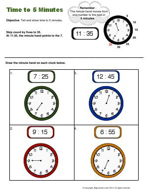 Preview image for worksheet with title Time to 5 Minutes