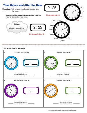 Preview image for worksheet with title Time Before and After the Hour