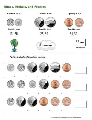 Preview image for worksheet with title Dimes, Nickels, and Pennies