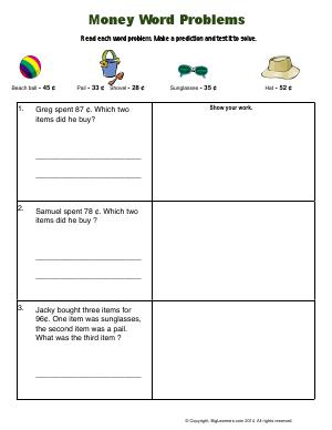 Preview image for worksheet with title Money Word Problems