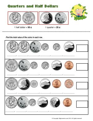 Preview image for worksheet with title Quarters and Half Dollars