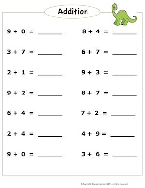 Preview image for worksheet with title Addition