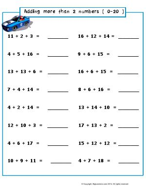 Preview image for worksheet with title Adding More Than 2 Numbers (0-20)