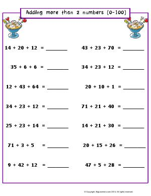 Preview image for worksheet with title Adding More Than 2 Numbers (0-100)