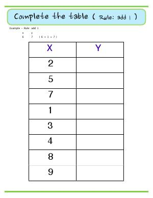 Preview image for worksheet with title Complete the Table ( Rule: add 1)