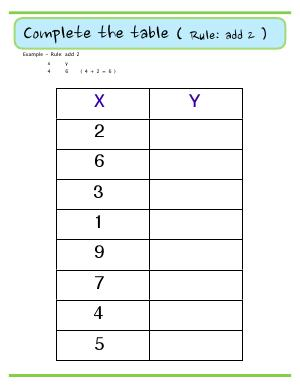 Preview image for worksheet with title Complete the Table ( Rule : add 2 )