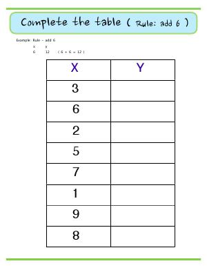 Preview image for worksheet with title Complete the Table ( Rule : add 6 )