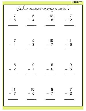 Preview image for worksheet with title Subtraction Using 6 and 7