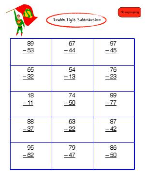 Preview image for worksheet with title Double Digit Subtraction