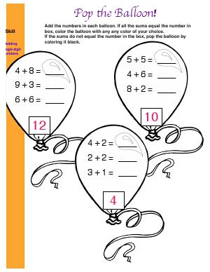 Preview image for worksheet with title Pop The Balloon!
