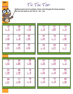 Preview image for worksheet with title Tic Tac Toe ( subtraction )