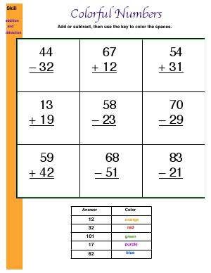 Preview image for worksheet with title Colorful Numbers