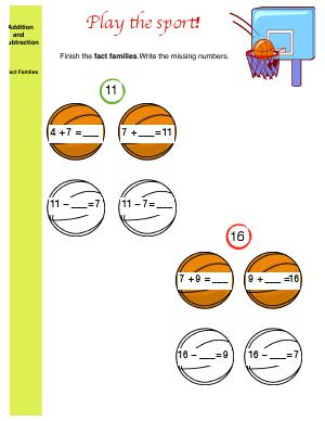Preview image for worksheet with title Play the Sport!  (addition and subtraction fact families)