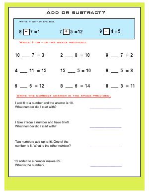 Preview image for worksheet with title Add or Subtract ?