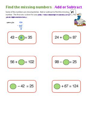 Preview image for worksheet with title Find The Missing Numbers : Add or Subtract