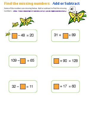 Preview image for worksheet with title Find The Missing numbers : Add or Subtract ( # 2)