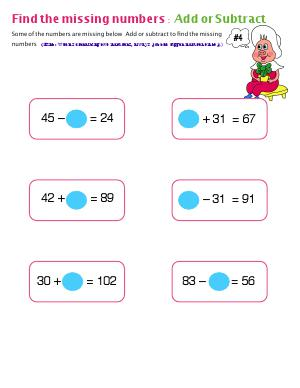 Preview image for worksheet with title Find The Missing Numbers : Add or Subtract ( # 4 )