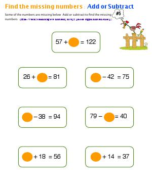 Preview image for worksheet with title Find The Missing Numbers : Add or Subtract ( # 5 )
