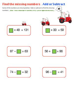 Preview image for worksheet with title Find the Missing Numbers : Add or Subtract ( # 6 )