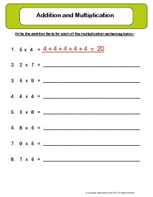 Preview image for worksheet with title Addition and Multiplication