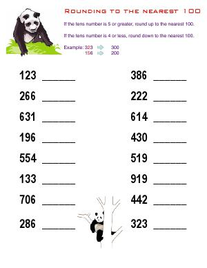 Preview image for worksheet with title Rounding to the Nearest 100