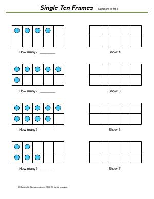 Preview image for worksheet with title Single Ten Frames ( numbers to 10 )