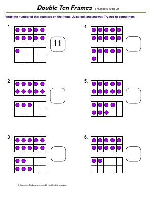 Preview image for worksheet with title Double Ten Frames ( numbers 10 to 20 )